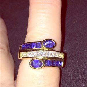 Gold Tone Faux Sapphire & CZ Ring